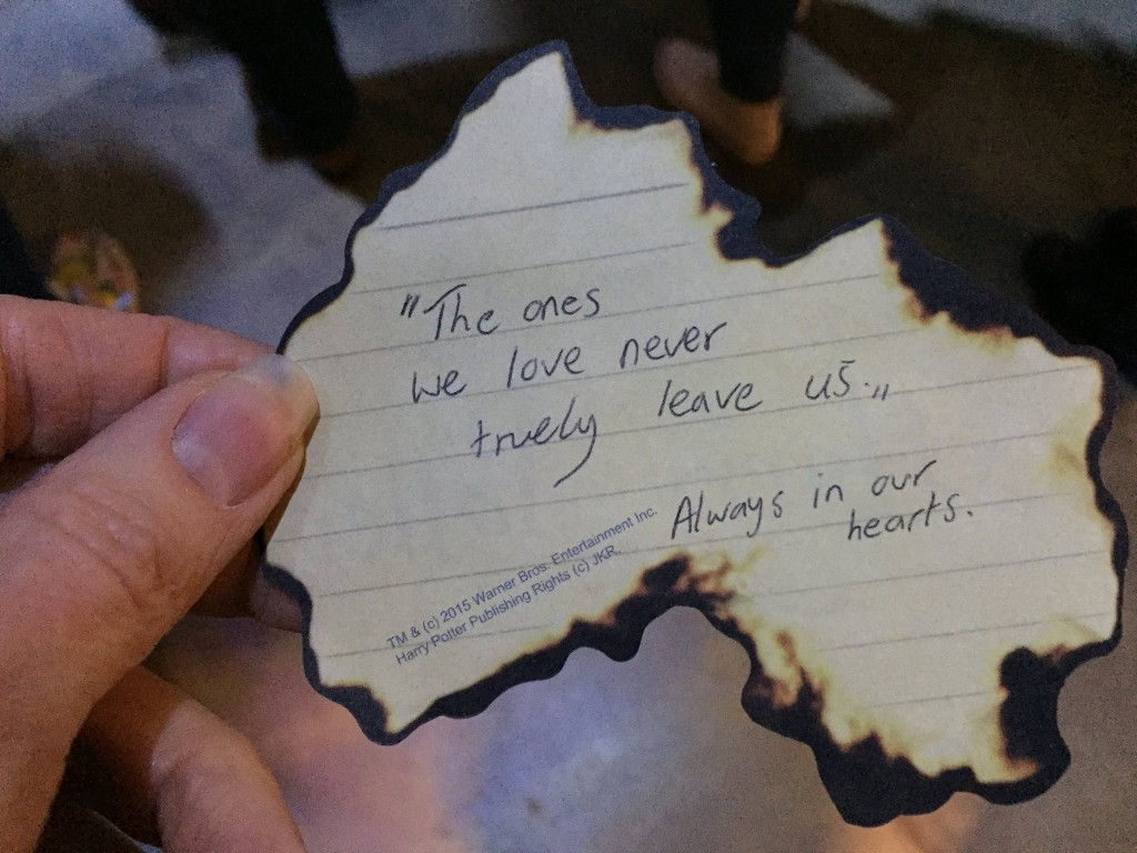 harry potter tour note from a stranger