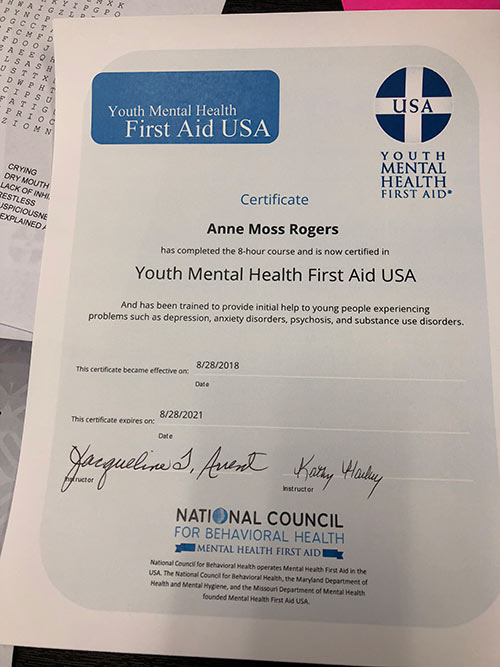 Certified In Youth Mental Health First Aid Archives Emotionally Naked