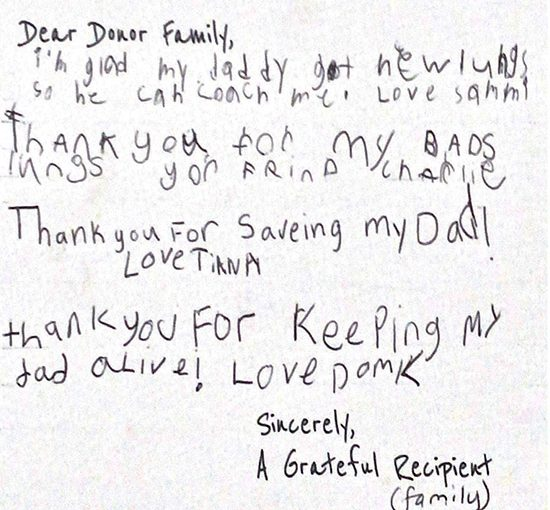 letter for organ donation